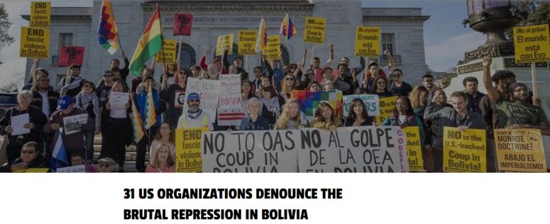 31 US orgs denounce Bolivia